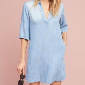 Cloth & Stone Gold Dotted Chambray Dress